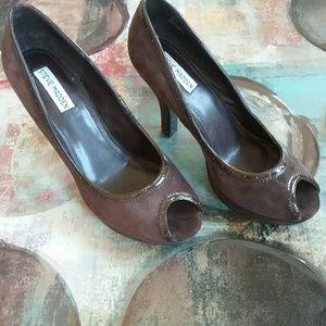 Steve Madden Brown Women Peep Toe Platform Heels